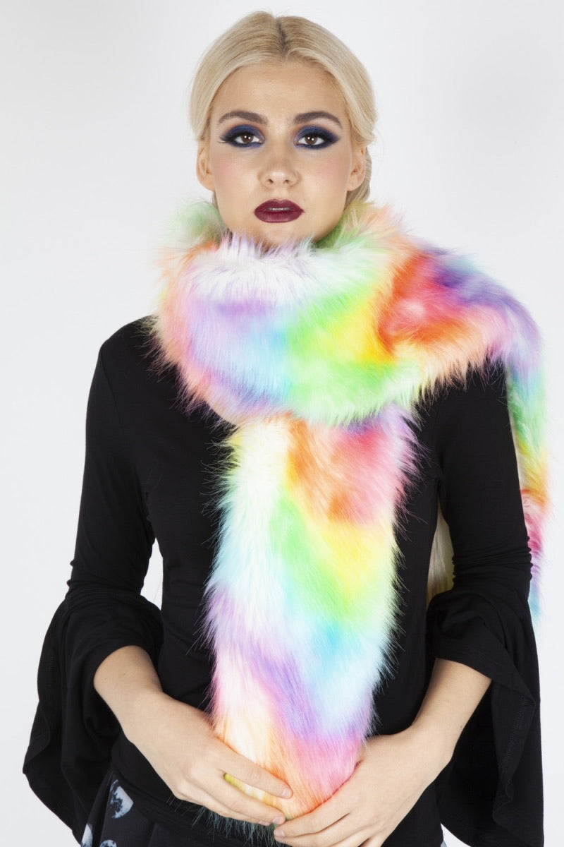 Lucy in Demise Rainbow Faux Fur Stole