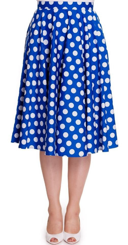 Full Circle Polka dot Blue Skirt