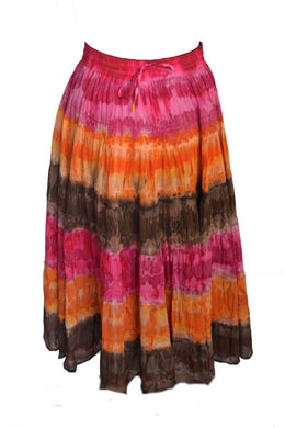 Tiered Gypsy Skirt pink and orange