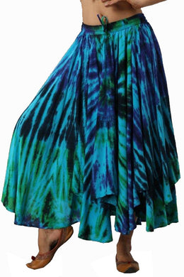 Extremely full Tie Dye elasticated skirt Aqua with green and purple