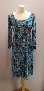 Azure Blue Bamboo Cotton long sleeved Batik Dress FAIRTRADE
