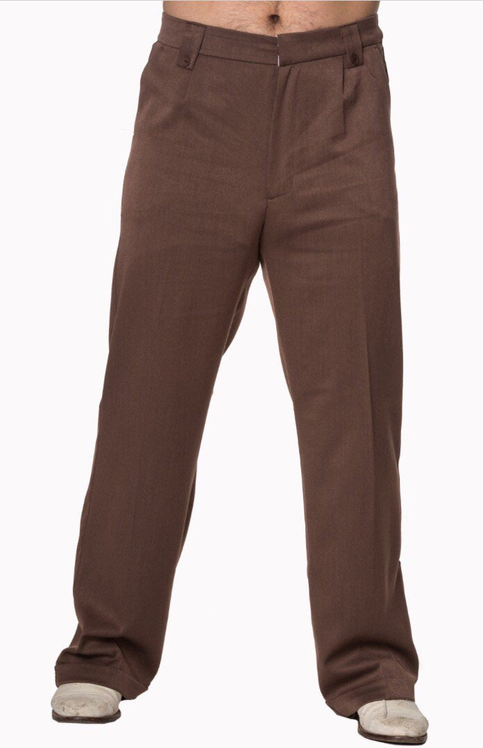 Men's 1940's/ 1950's Inspired Trousers Chocolate Brown