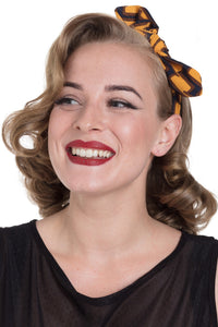 Mustard Retro Geometric pattern Elasticated headband