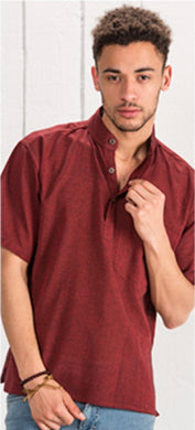 Cotton Khaddar 100% Cotton Short Sleeve Grandad collar shirt Deep Red . FAIRTRADE