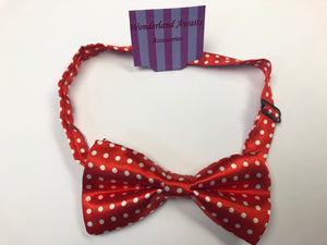 Bright Red and White Polkadot Satin Bow Tie