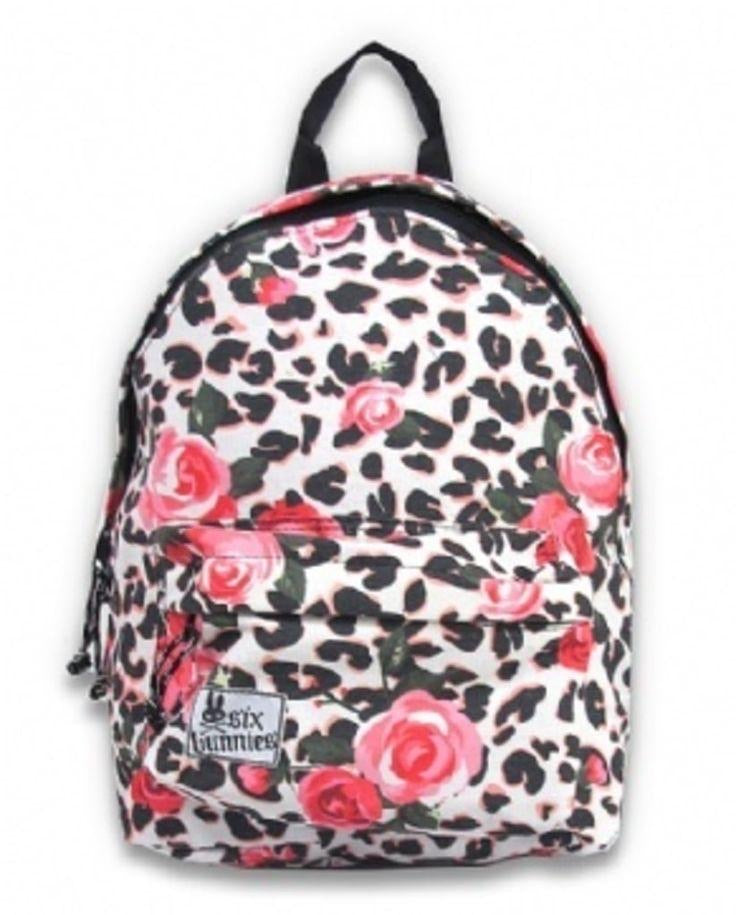 Children's Canvas Backpack Leopard and roses Print
