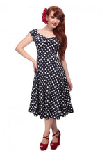 Load image into Gallery viewer, Dolores Navy polka dot 50s Swing Dress