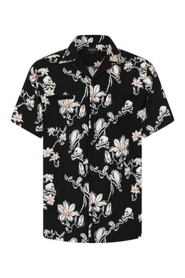 Skull and Magnolia Flowers Bowling Shirt