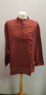 Cotton Khaddar 100% Cotton Long Sleeve Grandad collar shirt Deep Red . FAIRTRADE