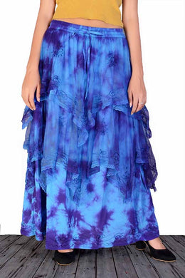 Blue Tie Dye layered Skirt
