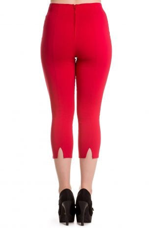 Tina Rockabilly Capri Trousers Red