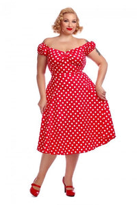 Dolores Red polka dot 50s Swing Dress