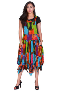 Colourful Patchwork pixie hem Dress
