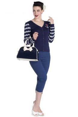 Lola Bowling Bag Navy and Cream