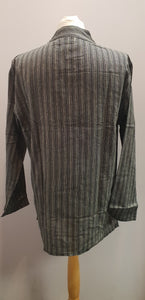 100% Cotton long Sleeve Striped Grandad Collar Shirt. Grey FAIRTRADE