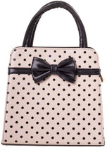 Load image into Gallery viewer, Carla Polkadot Bow Bag Nude and Black