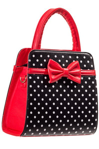 Carla Polkadot Bow Bag Black and Red