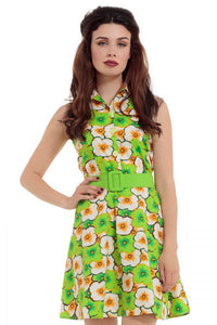 Polly 60s Lime Green Retro Dress
