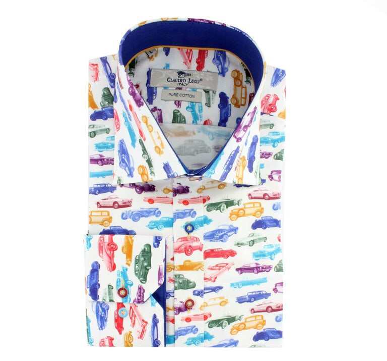 Claudio Lugli Colourful Retro Cars Men's Shirt
