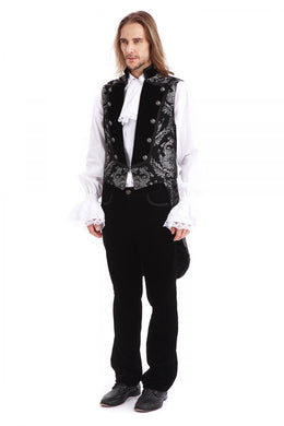 Silver and Black Brocade Tailed waistcoat