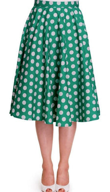 Full Circle Polka dot Green Skirt