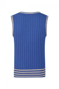 Euston Knitted 40's 100% cotton Vest Blue