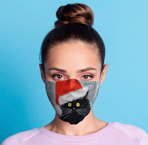 Kim Haskins Christmas Cats reusable Mask Face Covering