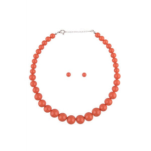 Orange Beaded Necklace and Earring Set