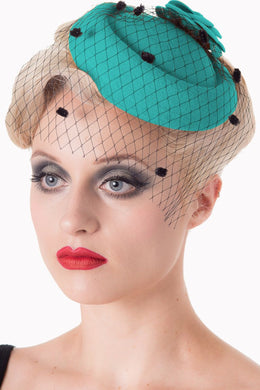Felt Flower Mini Hat Fascinator Teal