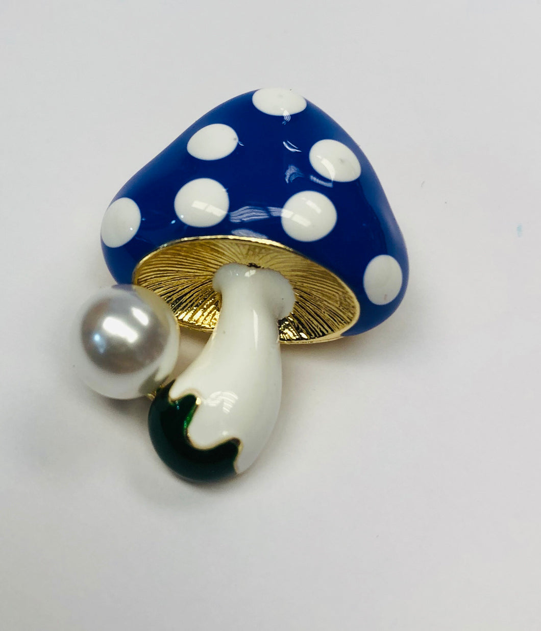 Small Blue Toadstool Brooch with Faux Pearl