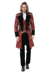 Red and Gold Brocade Gothic / Steampunk Mid Length Coat