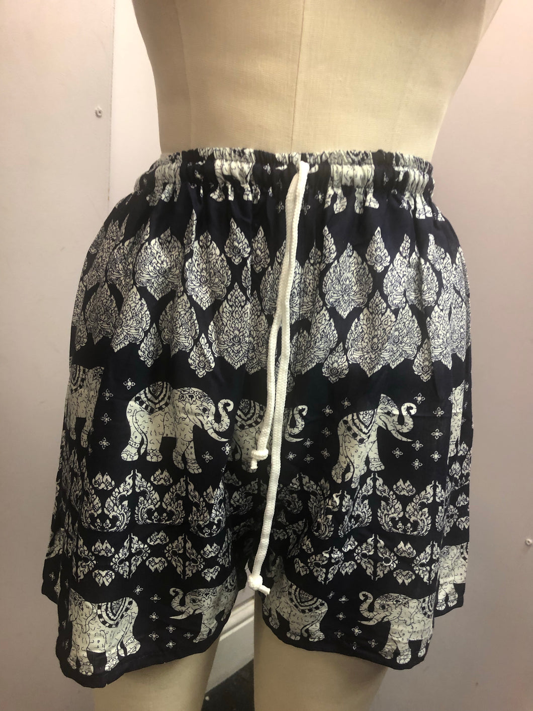 Elasticated Shorts Elephant Print Navy
