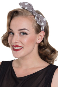 Grey Polkadot Elasticated headband