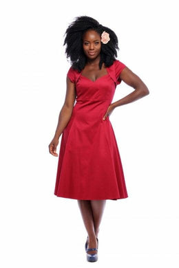 Regina 50s Plain Doll Dress Wine Red SALE WAS £55 NOW £30