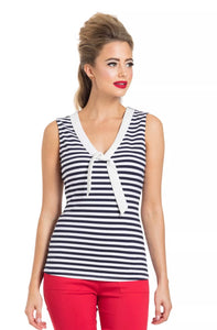 Haili Nautical Stripe top Navy and White