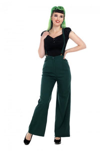 Glinda 40s High waisted Trousers with Braces Green