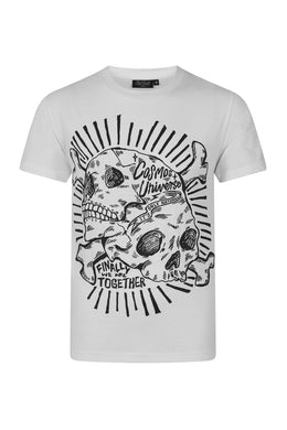 Cosmos white T-shirt with black skull print