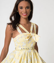 Load image into Gallery viewer, Janie Bryant For Unique Vintage Yellow & Poodle Print Beverly Swing Dress