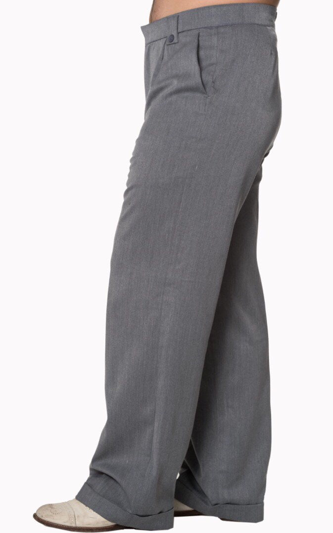 Men's 1940s/1950's Inspired Trousers Grey