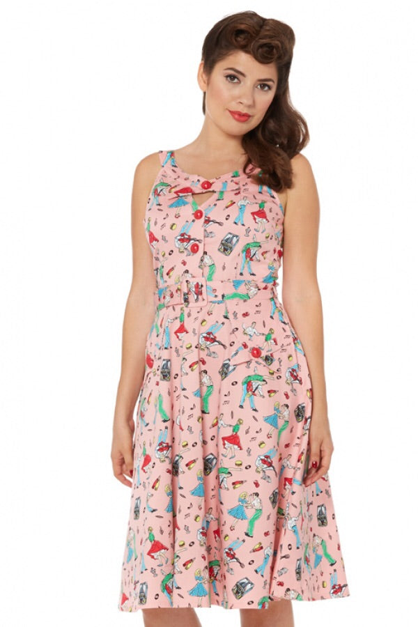Leona retro Diner Dancers Swing Dress