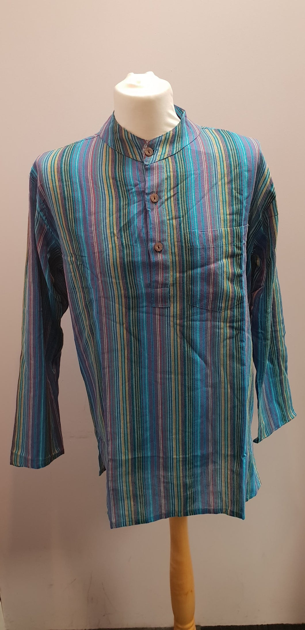 100% Cotton long Sleeve Striped Grandad Collar Shirt. Blue Multi FAIRTRADE