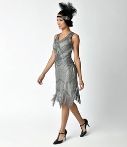 Unique Vintage Juliette 1920s Metallic Silver Dress