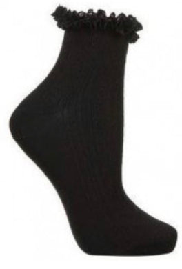 Black frilly Ankle Bobby Socks