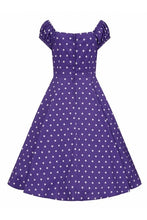 Load image into Gallery viewer, Dolores Purple polkadot Dress