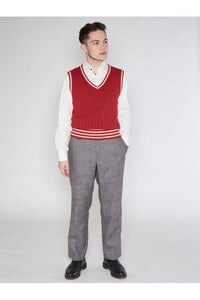 Euston Knitted 40's 100% cotton Vest Red