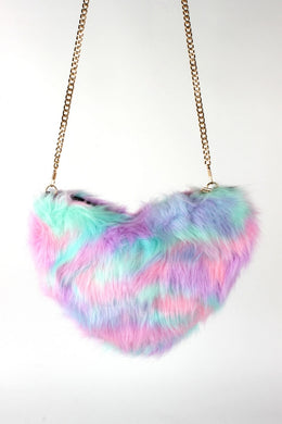 Sweet Enough Faux Fur heart bag