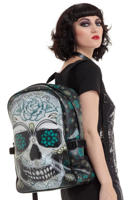 Blue Floral Sugar Skull Backpack