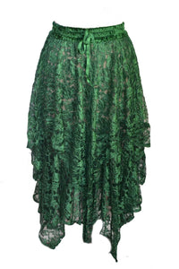 Green Lace Elasticated Gypsy Skirt