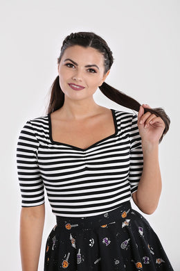 Warlock Black and White Striped Top