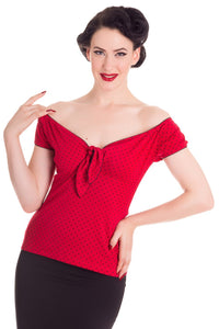 Cilla Polkadot Jersey Top Red